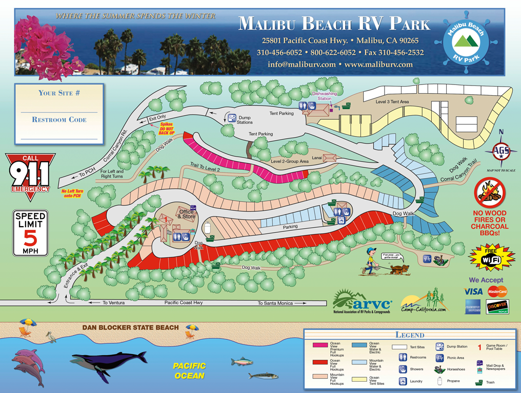 Malibu Beach RV Park Map
