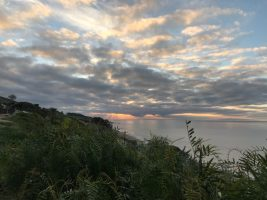 Over Cast Sky, Looking over a Grassy hill onto the Ocean